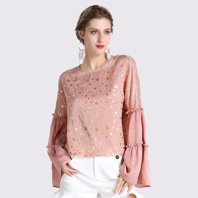 6fe9b610a6fab Printemps-Femmes-Rose-Chemises-O-cou-Flare-Manches -Double-Ruches-Or-toiles-Imprimer-Blouses-Casual-Sexy.jpg 640x640.jpg