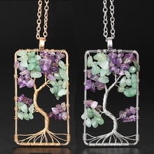 Natural Purple Quartz Stone Pendants Handmade Gold Color Tree of Life  Shaped Crystal Pendant Necklace Chain for Women Jewelry wholesale fine purple crystal pendants carved gold fish pendant sweater chain necklace luck for women men noble jewelry