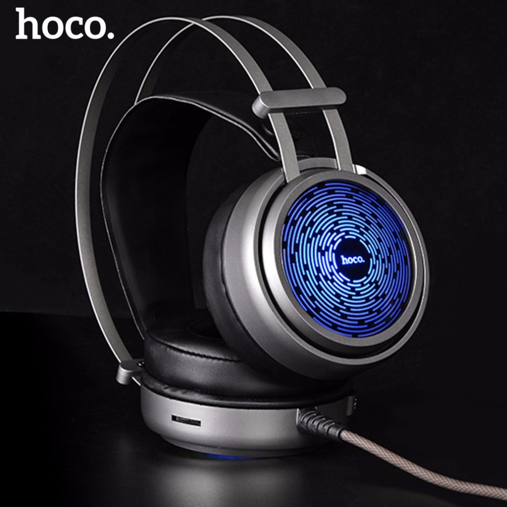 HOCO W8 Fashionable Headset For Computer Wired Gaming Headphones For Phone Gamer Headset Earphones Microphone Glowing Monitor 3 5mm universal gaming over ear headset earphones computer game headphones with microphone for gamer stereo bass for computer pc