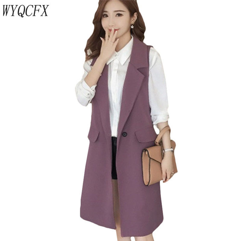 1b6839b4e Plus Size 3XL Women Spring Autumn Long Coat Sleeveless Suit Vest Coat  Ladies Casual Elegant Tops Office Blazer Vest Jacket W129