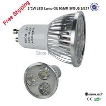 Free shipping LED lamp 6W gu10 spotlight with Bridgelux leds 10psc/lot