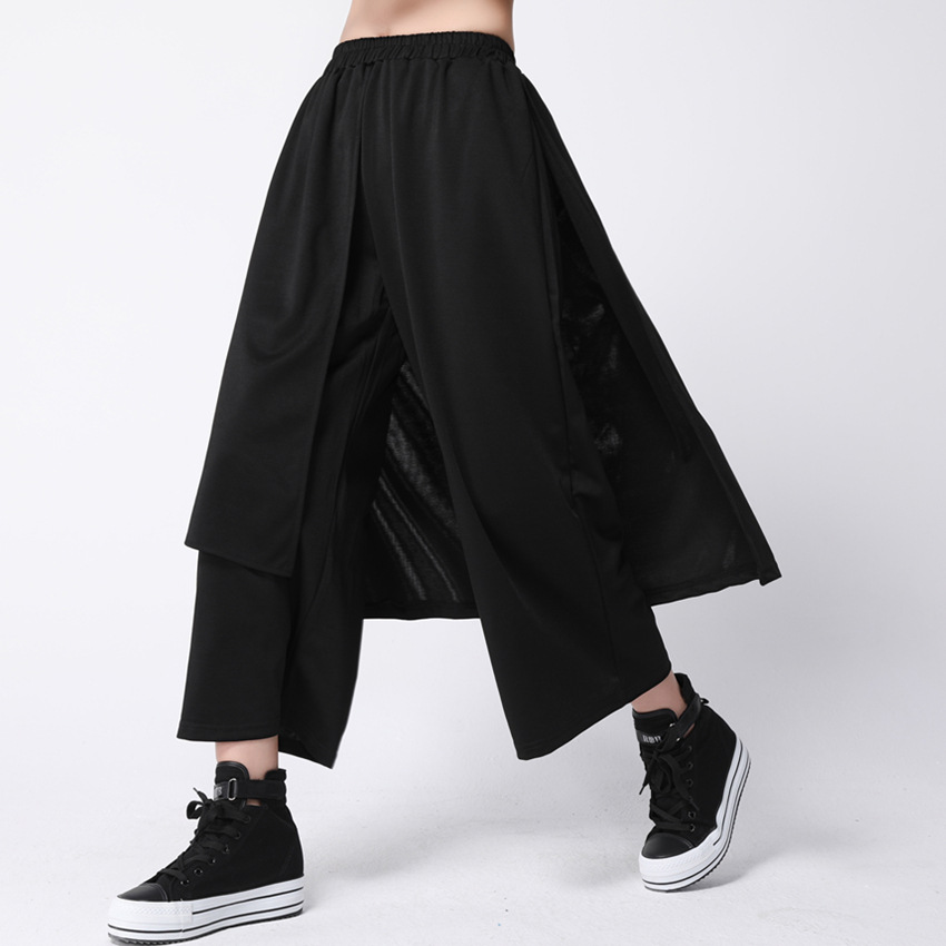 SuperAen Streetwear Black   Pants   Women Autumn Harajuku Ankle-Length   Pants   Loose Elastic Waist   Wide     Leg     Pants   Plus Size Clothing