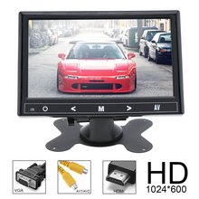 7 Inch 16:9 HD 1024x600 TFT LCD Color Car Rear View Monitor 2 Video Input DVD VCD Headrest Vehicle Audio HDMI VGA