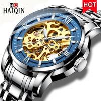 HAIQIN Top Brand Men Watches Automatic Mechanical Watch Male Tourbillon Clock Military Fashion Skeleton Watch Relogio Masculino