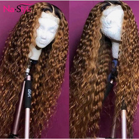 150% 360 Lace Frontal Wig Pre Plucked With Baby Hair 1b/27 Human Hair Ponytail Deep Wave Lace Front Wig For Black Roots Women