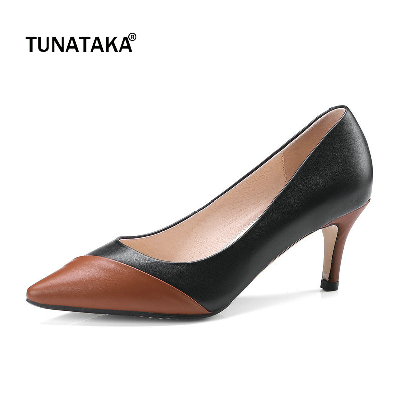 Genuine Leather Mixed Color Thin Heel Woman Lazy Pumps Fashion Pointed Toe Dress High Heel Shoes Woman Black White