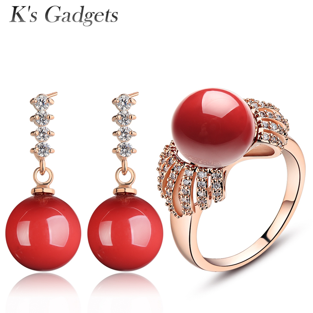 Crystal Rhinestone Jewellery Set For Women Rose Gold Color Fashion Red Imitation Coral Wedding Bridal Jewelry Sets