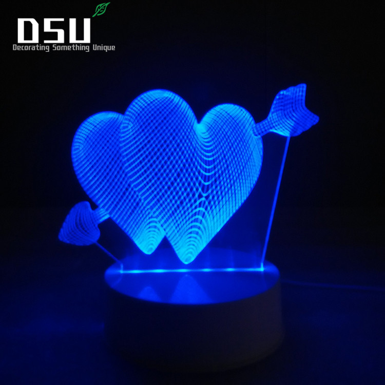 3D Night Light Remote Controller LED Desk Lamp 7 Color Changing Optical Illusion love heart Acrylic Flat ABS Base Lover Gift