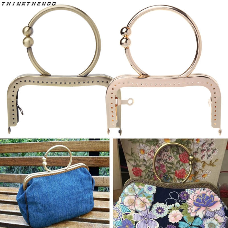 THINKTHENDO 1 Pc Vintage Metal Purse Bag Frame Kiss Clasp Lock With Handle 12.5cm Hot New Accessories High Quality