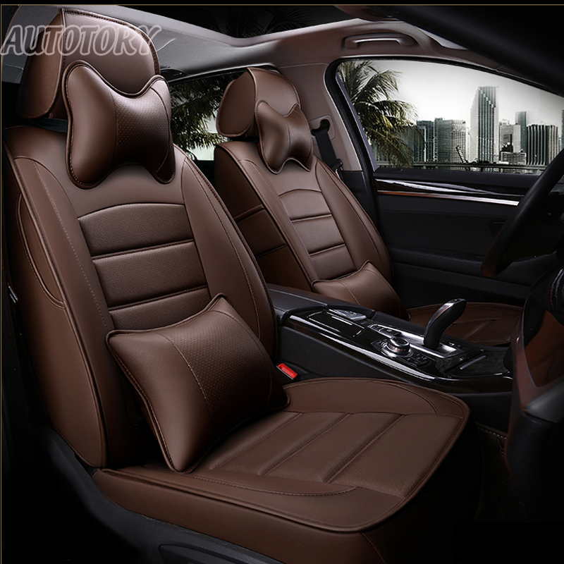 Autotory Genuine Leather Cover Seats for Skoda Octavia a7 a6 2017 Custom Fit Auto Seat Covers Cushion Supports Accessories Sets