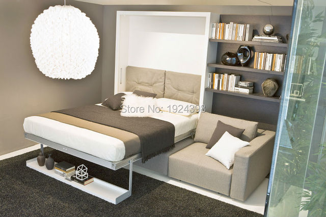 2016 hot sale transformable hidden bed wooden vertical murphy double wall bed with bookshelf and Schrankbett mit sofa
