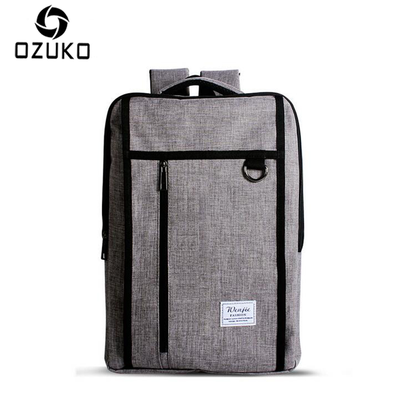 OZUKO Casual Men 14 Inch Laptop Backpacks Female Middle Students Fashion School Bags Male Business Travel Computer Backpack Bag
