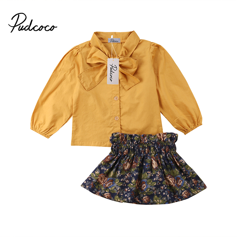 Pudcoco Toddler Infant Baby Girls Fall Spring Clothes Bowtie Long Sleeve T-Shirt Tops+Floral Dress Skirts Boutique Outfits Set 2pcs star set autumn spring toddler kids baby girls outfits long sleeve t shirt tops dress denim pants clothes set