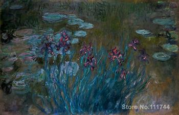 Art for office space Irises and Water Lilies Claude Monet Paintings High quality hand painted