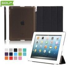 GOLP Caso para el ipad 2/3/4 Atractivo Perfect Fit 2 En 1 imán de Cuero de LA PU Cubierta Elegante de la PC Transparente de Nuevo Caso para el ipad 2 4 A1430