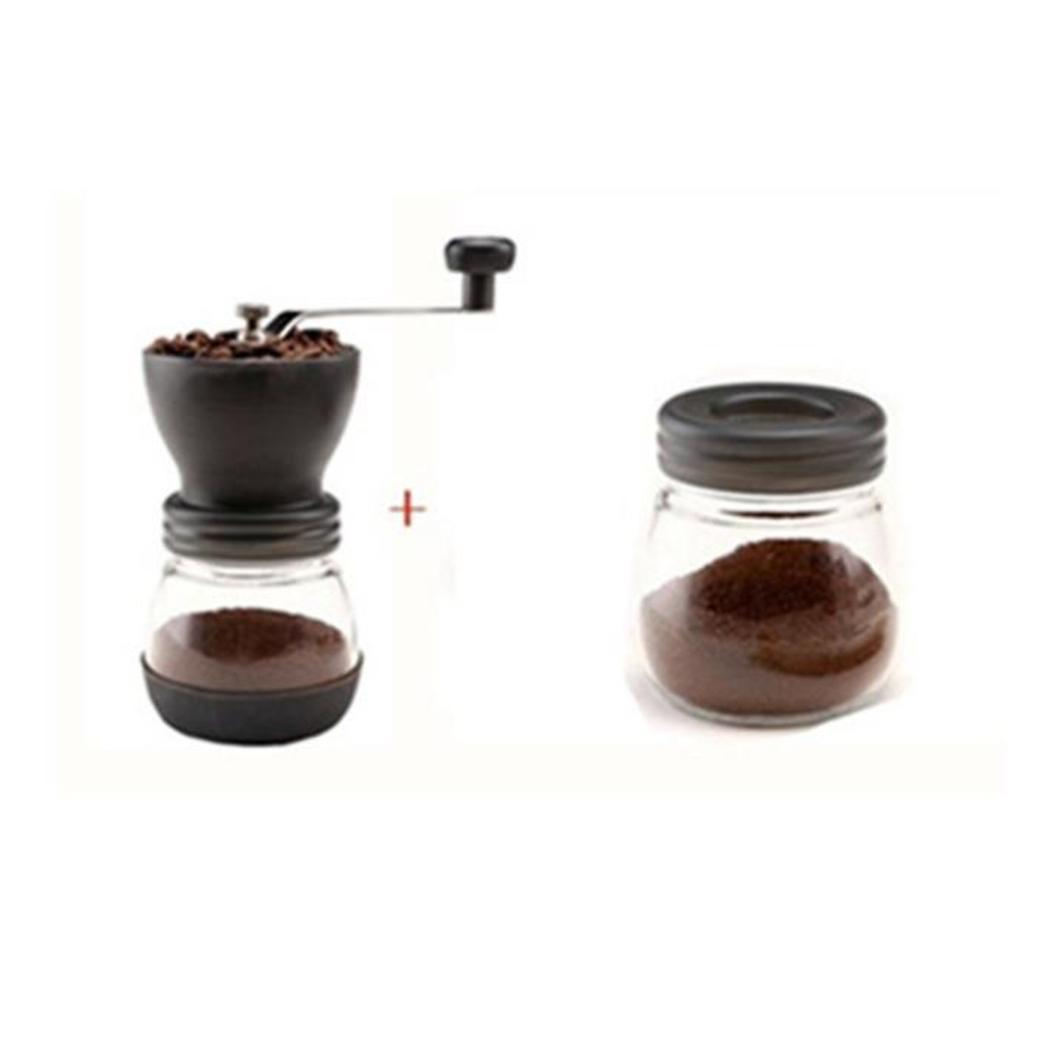 Mini Manual Ceramic Coffee Grinder Stainless Steel Hand-crank Coffee Grinder with Storage Jar Easy Cleaning Black
