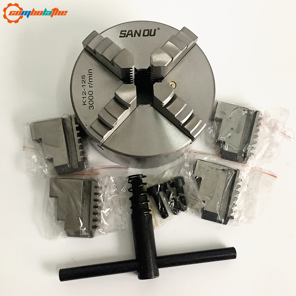 4 jaw lathe chuck 5 inch 125mm self centering chuck manual type SANOU Big distributor in