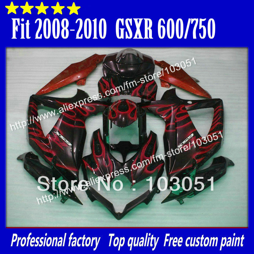 high grade for 2008 SUZUKI <font><b>GSXR</b></font> <font><b>600</b></font> fairings <font><b>2009</b></font> 2010 <font><b>GSXR</b></font> 750 fairing K8 08 09 10 red flame in glossy black su image