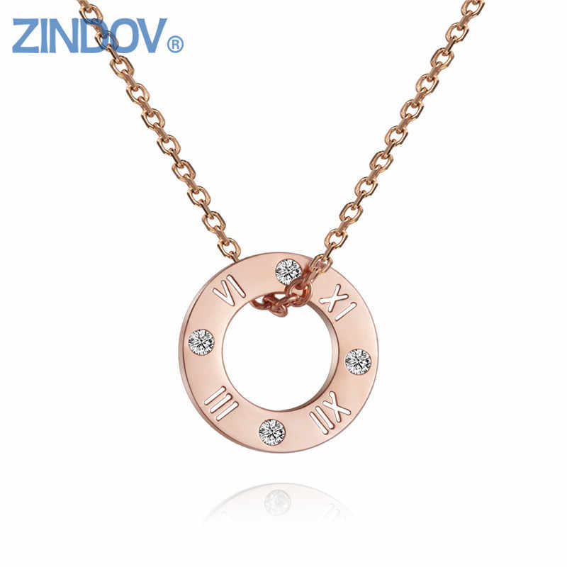 2018 Hot Stainless Steel Women Necklaces Pendants Gold Rose Gold Colors Crystal Fine Costum Party Jewelry Accessories Wholesales