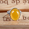 Retro vintage yellow Chalcedony cocktail party silver rings round females bijoux 925 sterling silver jewelry