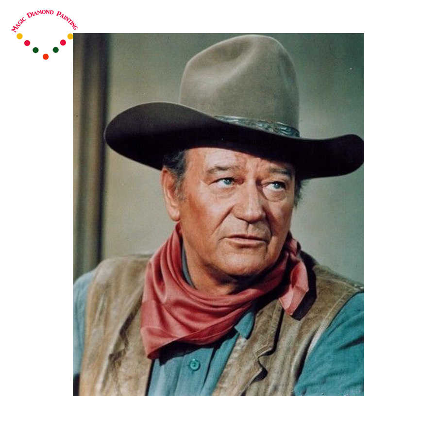 5D Diy diamant malerei Cowboy John Wayne kristall Malerei diamanten dekorative Super star diy diamant stickerei kits