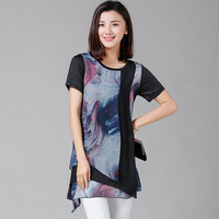 2017 New Summer Blouse Short Sleeve Long Chiffon Blouses Fashion Print Women's Shirt Plus Size Tunics Top Blusas Feminina