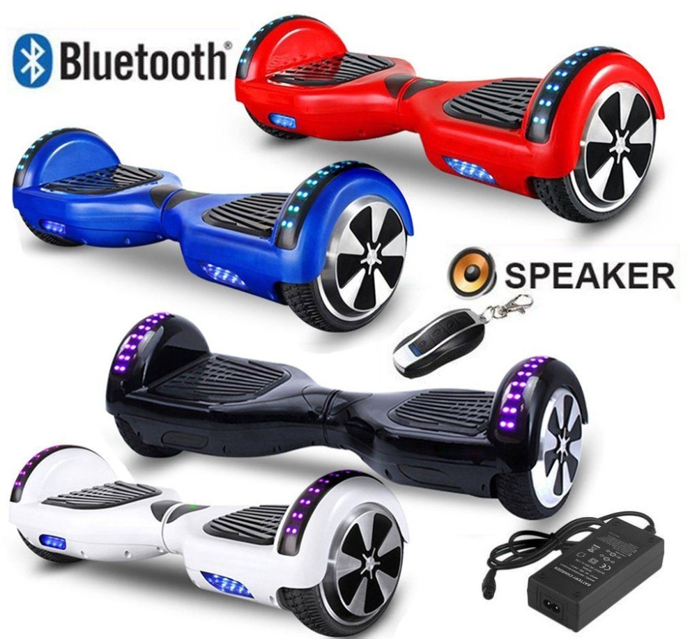 6.5 Inch 2 Wheel Self Balancing Electric Scooter Electric Skate Board Bluetooth Speaker Hoverboard With LED Light Lock цена