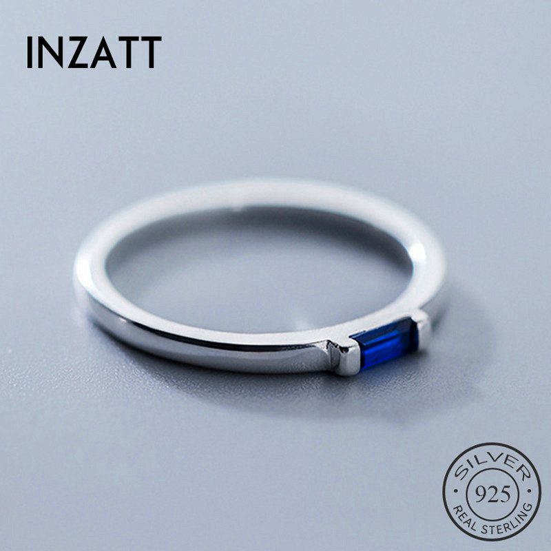 INZATT Real 925 Sterling Silver Blue Zircon Rectangle Ring For Fashion Women Fine Jewelry Cute 2019 Minimalist Accessories Gift