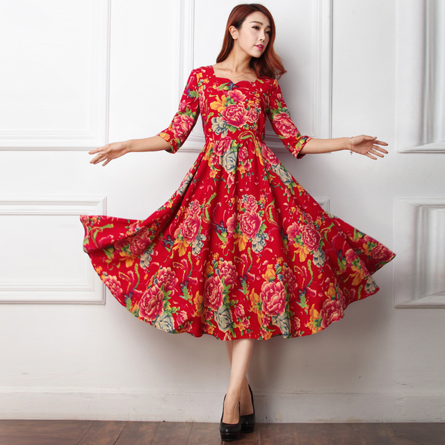 winter vintage 50s China Ethnic red green peony floral half sleeve swing  rockabilly midi dress plus size vestidos 4xl dresses 7d87b769c337