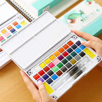 18/24/36 Colors Transparent Solid Watercolor Paint Set with Paintbrush Palette for Student Artist Painting Drawing Art Supplies