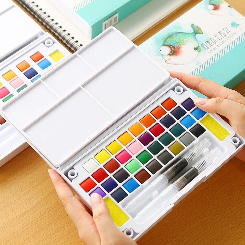 18/24/36 cores Transparente Sólido Conjunto com Pincel Tinta Aquarela Palette para o Estudante de Desenho Arte Da Pintura do Artista suprimentos
