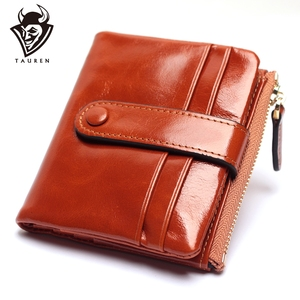 Image 1 - Женский кошелек из натуральной кожи, маленький держатель для карт, дамские Короткие Бумажники на застежке из вощеной масляной кожи, сумочка для мелочи
