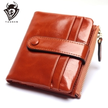 Women Genuine Leather Wallet Mini Card Holder Ladies Oil Wax Hasp Short Wallets Purse Coin Bags