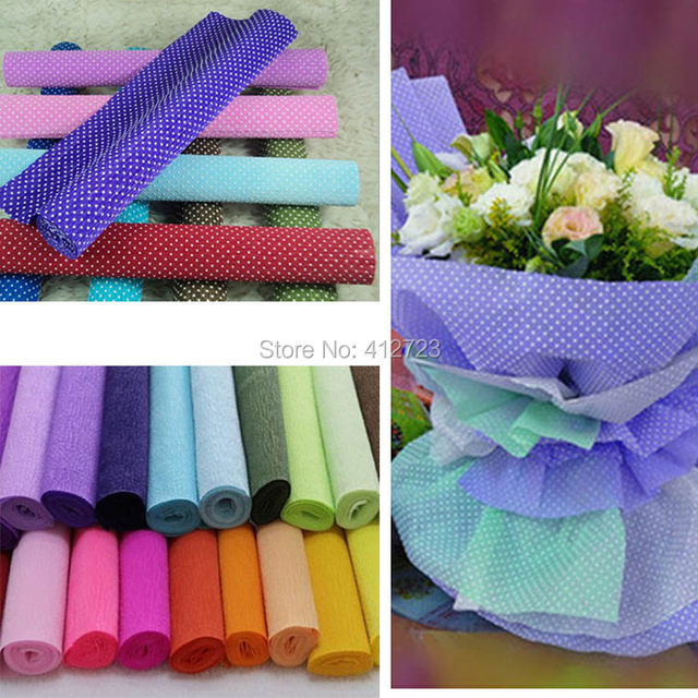 Online Shop 250x50cmroll Pinkwhite Colored Crepe Paper Diy Flower