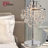 New brief style modern chrome table light crystal table lamps for living room lighting