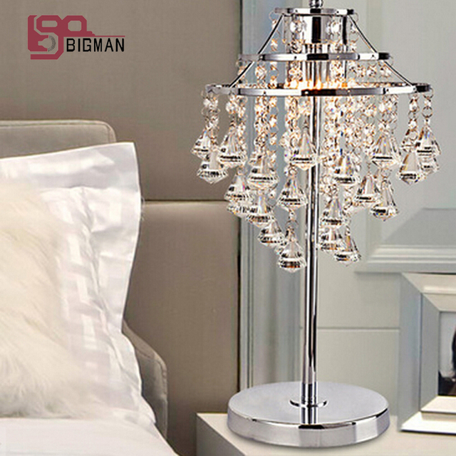 New brief style modern chrome table light crystal table lamps for ...