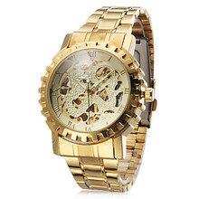 Relojes de los hombres de moda casual relojes esqueleto viento mecánico automático reloj masculino del relogio banda de acero de oro