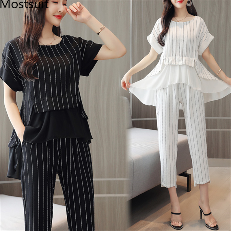 Summer Striped Cotton Linen Two Piece Sets Women Plus Size Black White Office Elegant Short Sleeve Tops And Cropped Pants Suits
