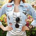 Корейский Длинными Рукавами Джинсовые Все матч Женского Личности Тощие армия пилот мода знак женщины улица тенденции Куртки