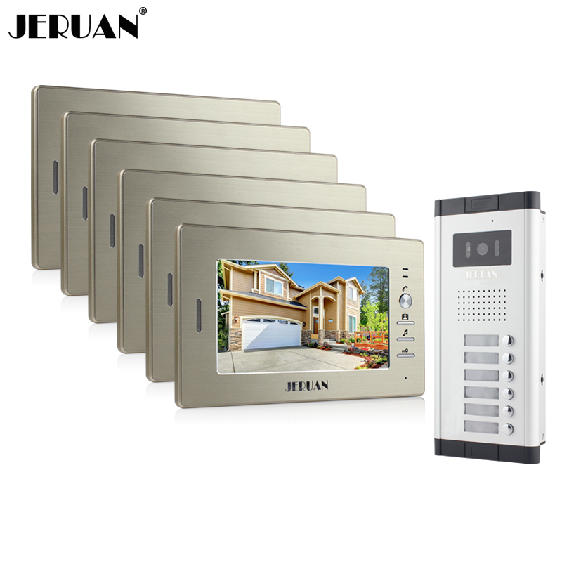 JERUAN Brand New Apartment Intercom System 6 Monitor Wired 7 Color Video Door Phone intercom System for In Stock FREE SHIPPING brand new wired 7 inch color video intercom door phone set system 2 monitor 1 waterproof outdoor camera in stock free shipping