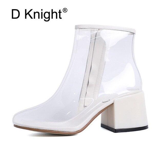050747d88 2018 Mulheres Chuva Botas Sapatos Primavera Outono À Prova D' Água  Transparente Claro Chuva Bota