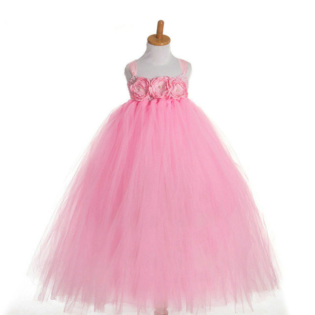 flower summer dress for girls party wedding babies pink dress gown ...