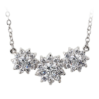 URING N398 Sun Flower CZ Silver Color Fashion Pendant Necklace Jewelry Made with Austria Crystal Wholesale