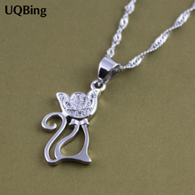 Free Shipping 925 Silver Fox Pendant Wholesale Jewelry Silver Rhinestone Crystal Pendant Colgante Pingente de plata