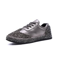 Luxury Design Rhinestone+Genuine Leather Women Flats Shoes New Female Casual Flat Shoes Woman Loafers Lace Up Womens Sneakers