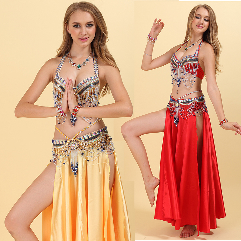 Handmade Beaded Women Belly Dance Costume Bra Belt 2 Pieces Ladies Sexy Belly Costumes Set Sari