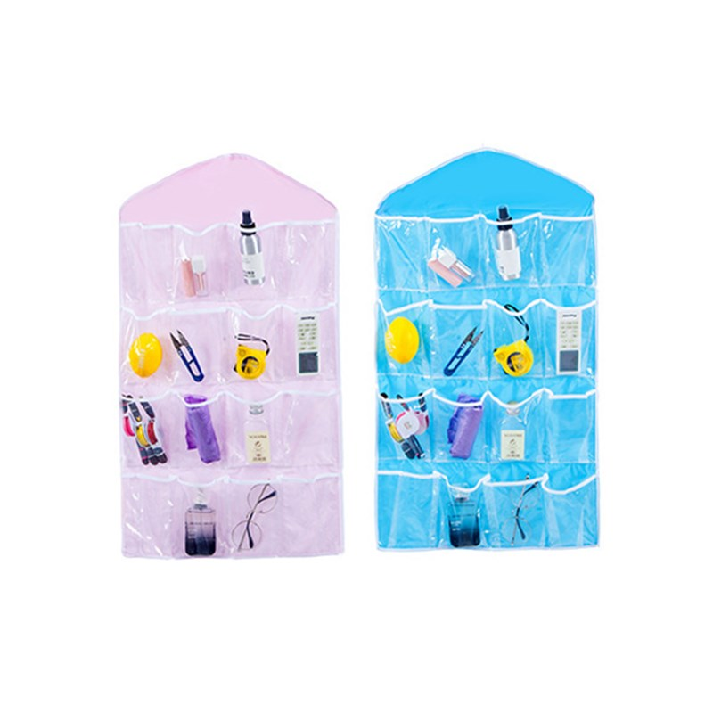16 Pockets Closet Wall Door Hanging Organizers Polyester Storage Bag for Underwear Socks ...