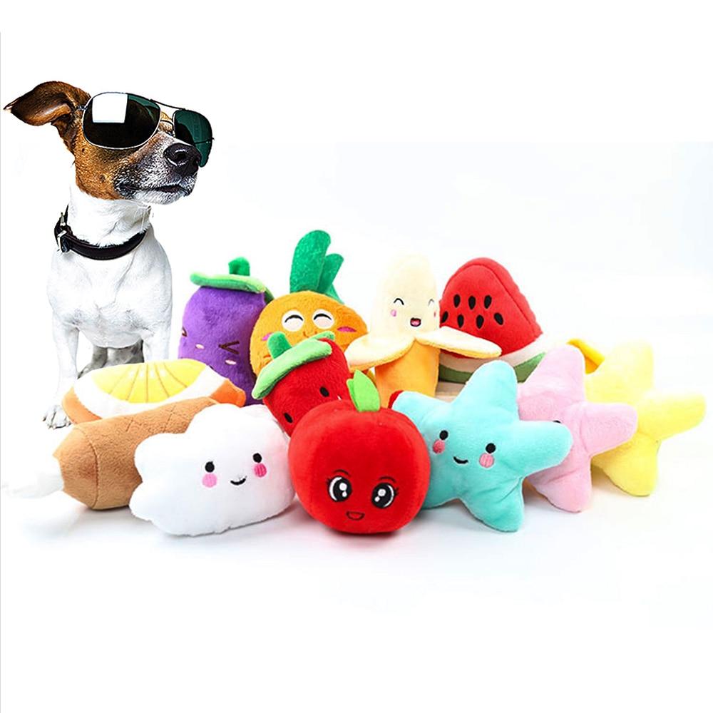 1 шт.. мягкий, флисовый, для собаки жевательная игрушка фрукты овощи курица пищалка игрушка для Плюшевая собачка красный перец Баклажан реди...