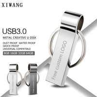 Usb flash drive 3.0 prata metal pendrive 128 gb 64 gb 32 16 gb 8 gb 4 gb memória flash pen drive memória usb pulseira chave livre logotipo