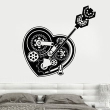 SteamPunk Mechanical Heart Gears Car Lock Wall Stickers Vinyl Home Decor Teens Room Living Decals Removable Mural A113